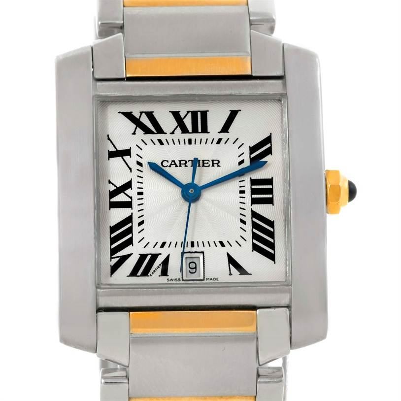 9452 Cartier Tank Francaise Large Steel 18K Yellow Gold Watch W51005Q4 SwissWatchExpo