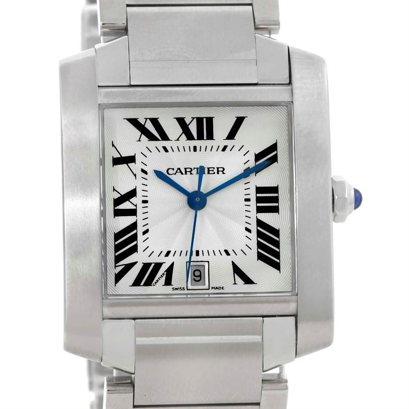 9650 Cartier Tank Francaise Large Stainless Steel Mens Watch W51002Q3 SwissWatchExpo