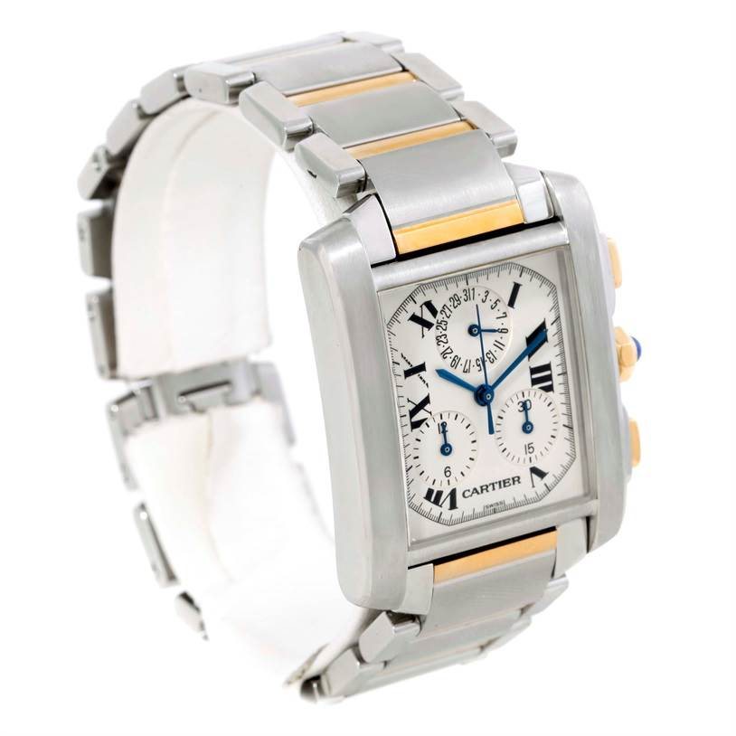 9448 Cartier Tank Francaise Mens Steel Gold Chrongraph Watch W51004Q4 SwissWatchExpo