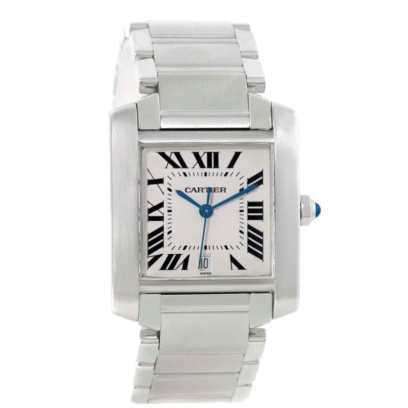 Cartier Tank Francaise Automatic Steel Large Mens Watch W51002Q3 SwissWatchExpo