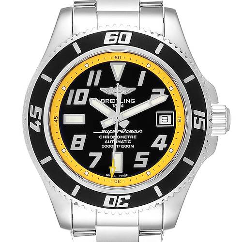 Photo of Breitling Superocean Abyss Black Yellow Steel Mens Watch A17364 Box Papers