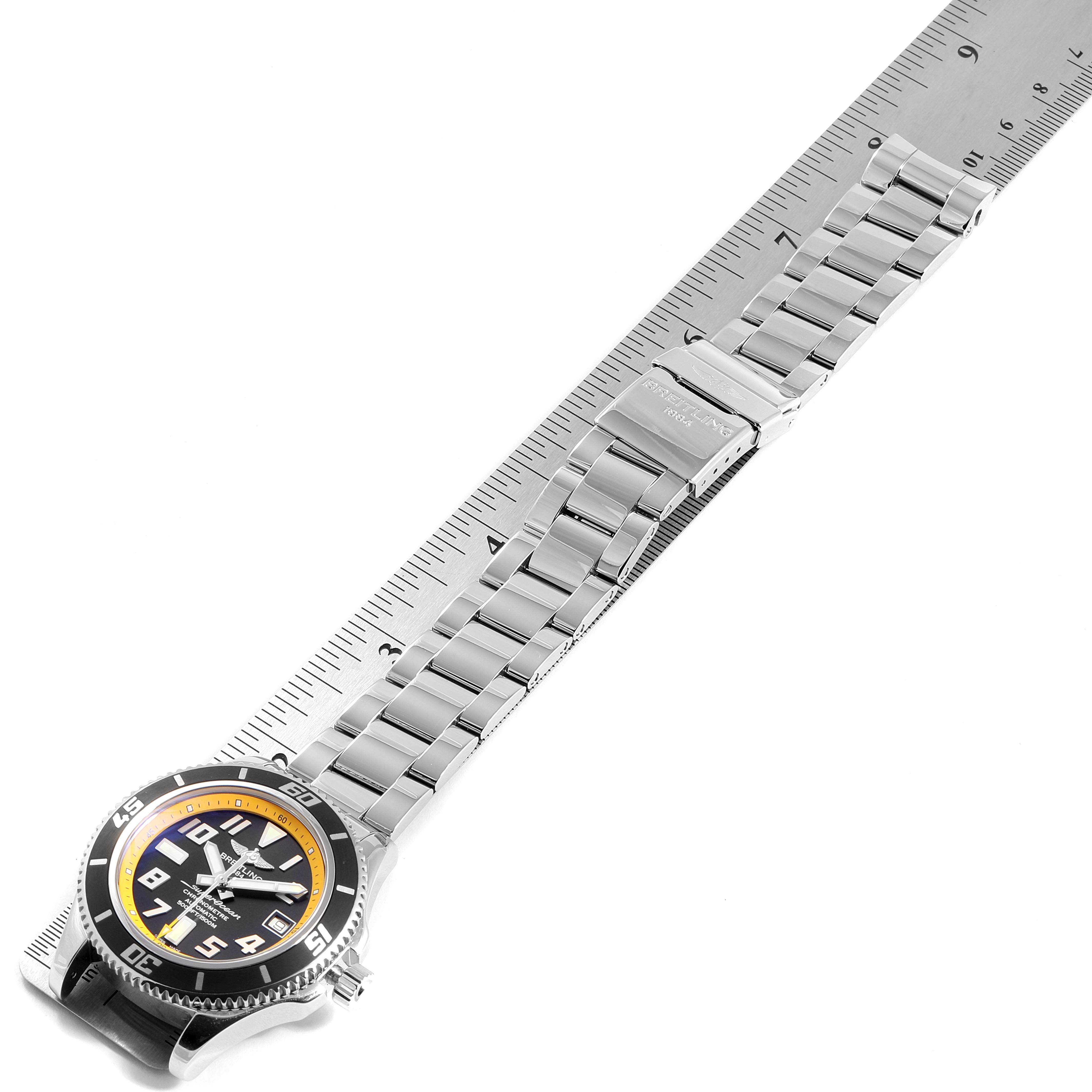 Breitling Superocean Abyss Black Yellow Steel Mens Watch A17364 Box Papers SwissWatchExpo