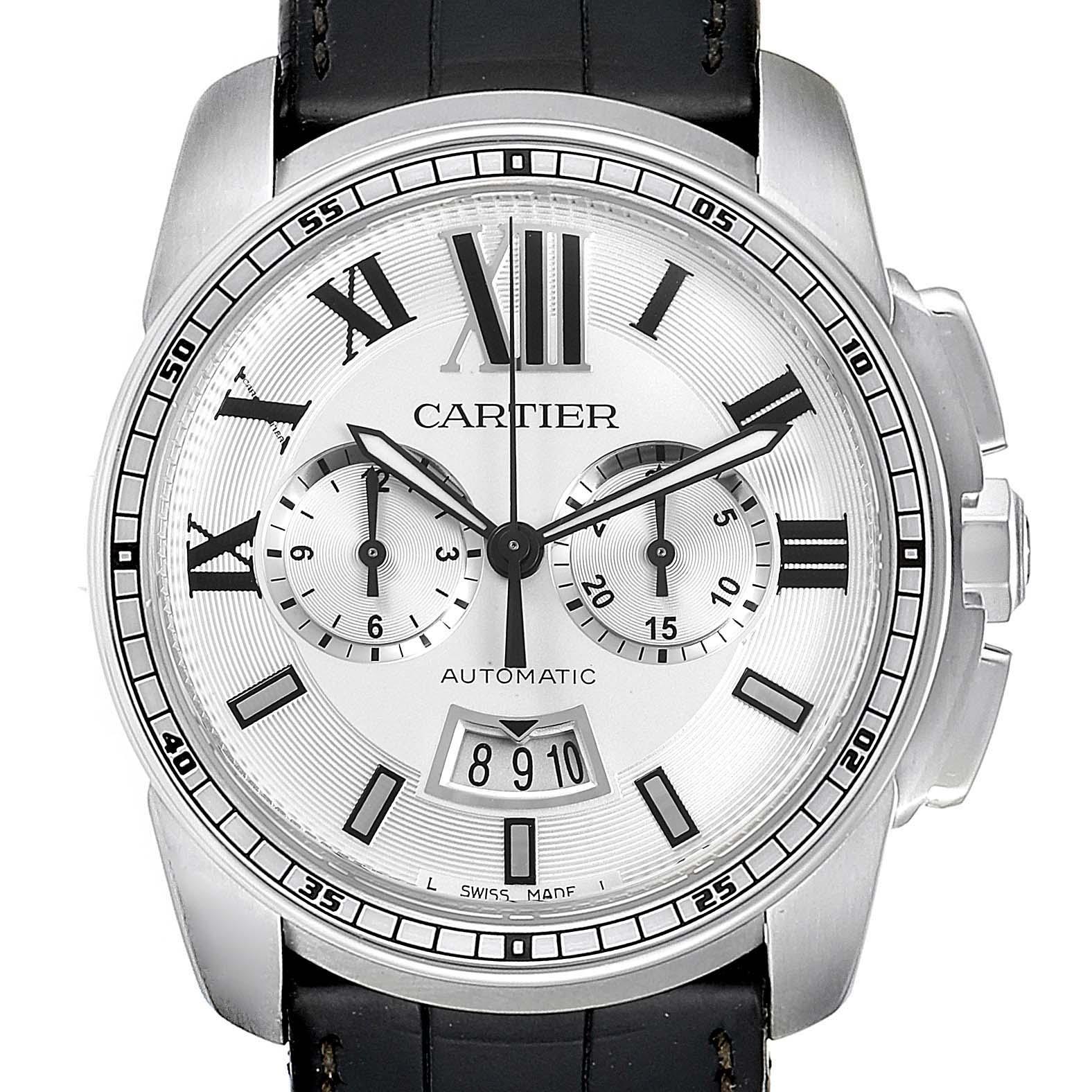 Calibre De Cartier Steel Chronograph Silver Dial Mens Watch W7100046