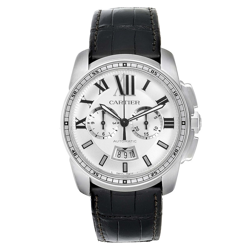 Calibre De Cartier Steel Chronograph Silver Dial Mens Watch W7100046 SwissWatchExpo