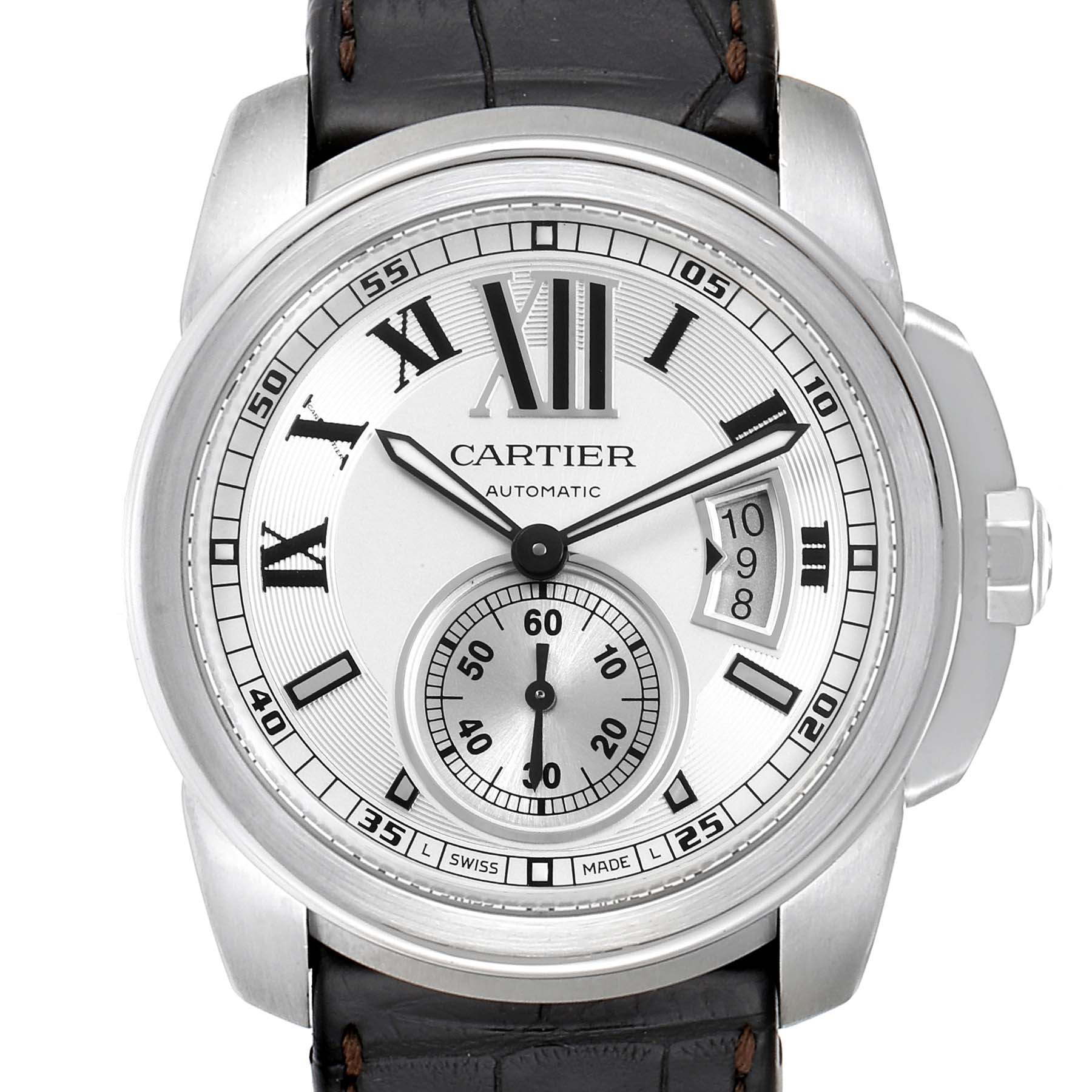 Cartier Calibre Silver Dial Steel Mens Watch W7100037 Box Papers