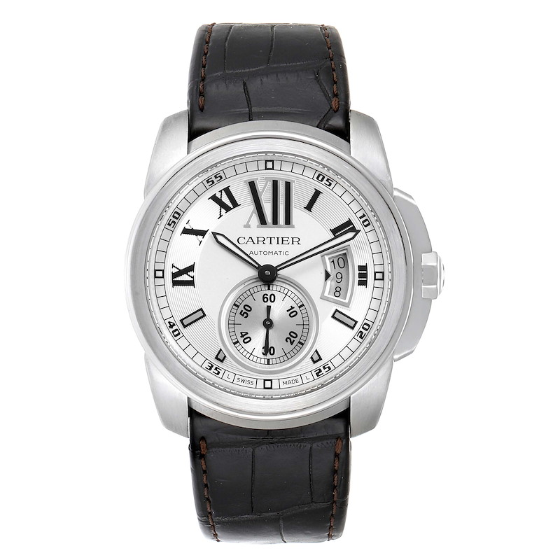 Cartier Calibre Silver Dial Steel Mens Watch W7100037 Box Papers SwissWatchExpo