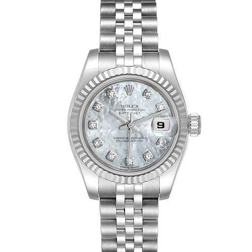 Photo of Rolex Datejust Steel White Gold MOP Diamond Ladies Watch 179174