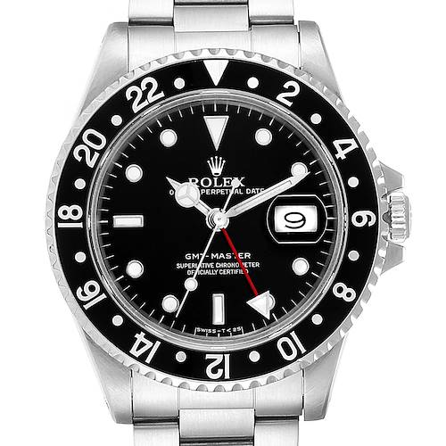 Photo of Rolex GMT Master Black Bezel Steel Mens Watch 16700 Box Papers