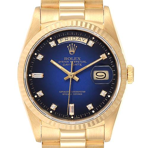 Photo of Rolex President Day-Date Yellow Gold Vignette Diamond Mens Watch 18238