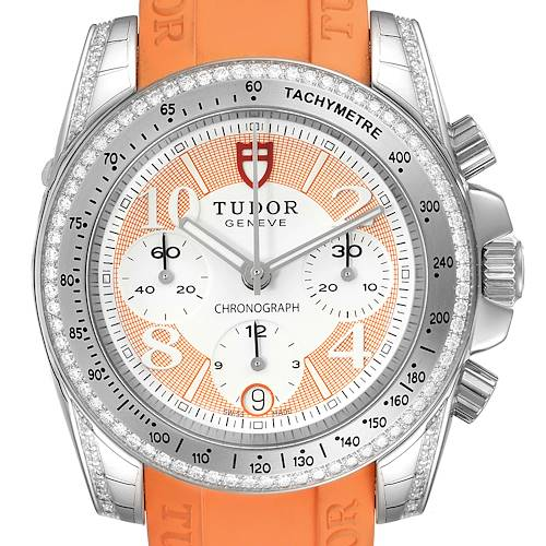 Photo of Tudor Grantour Orange Strap Steel Diamond Ladies Watch 20310 Unworn