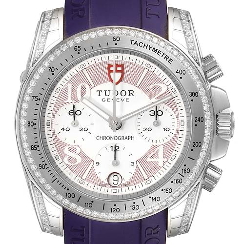 Photo of Tudor Grantour Purple Strap Steel Diamond Ladies Watch 20310 Unworn