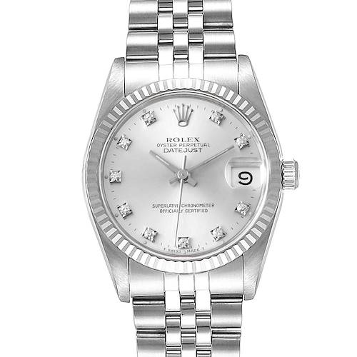Photo of Rolex Datejust Midsize Steel White Gold Diamond Dial Watch 68274 Box Papers