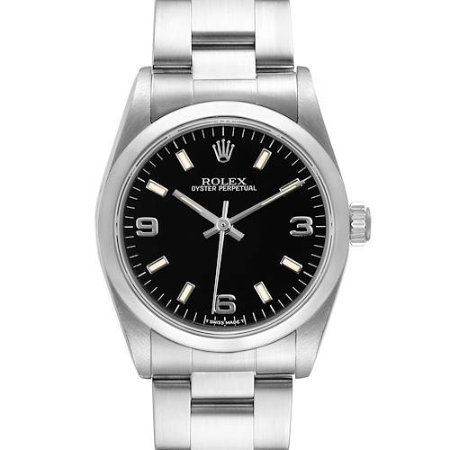 Photo of Rolex Midsize 31mm Black Dial Automatic Steel Ladies Watch 67480 Papers