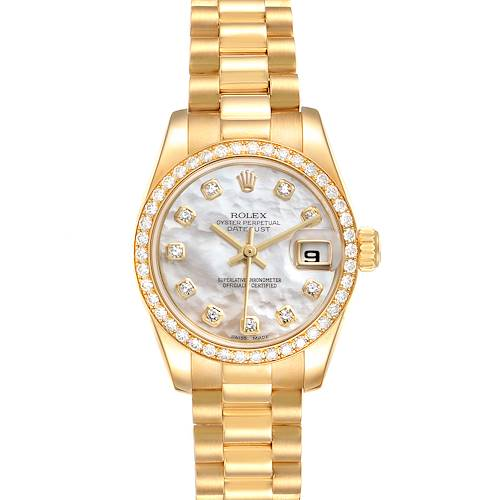 Photo of Rolex President Ladies 18k Yellow Gold MOP Diamond Watch 179138