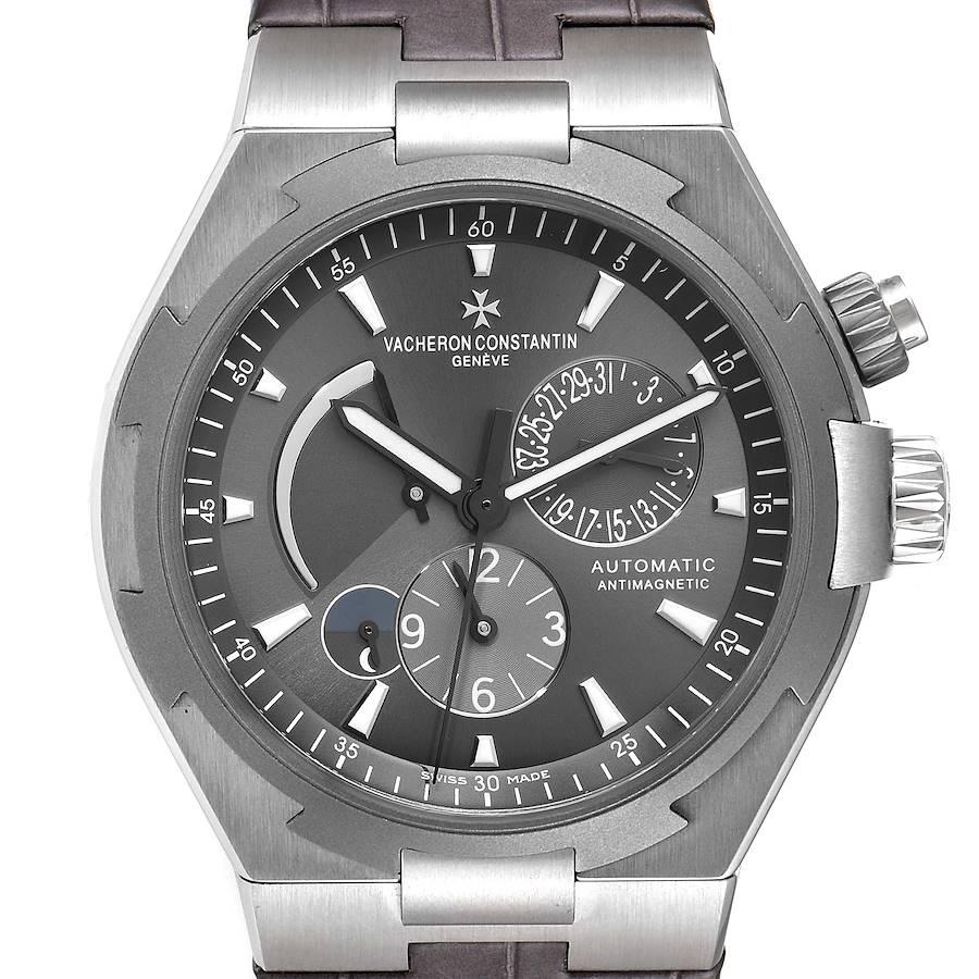 Vacheron Constantin Overseas Dual Time Grey Dial Mens Watch 47450 Box Papers SwissWatchExpo