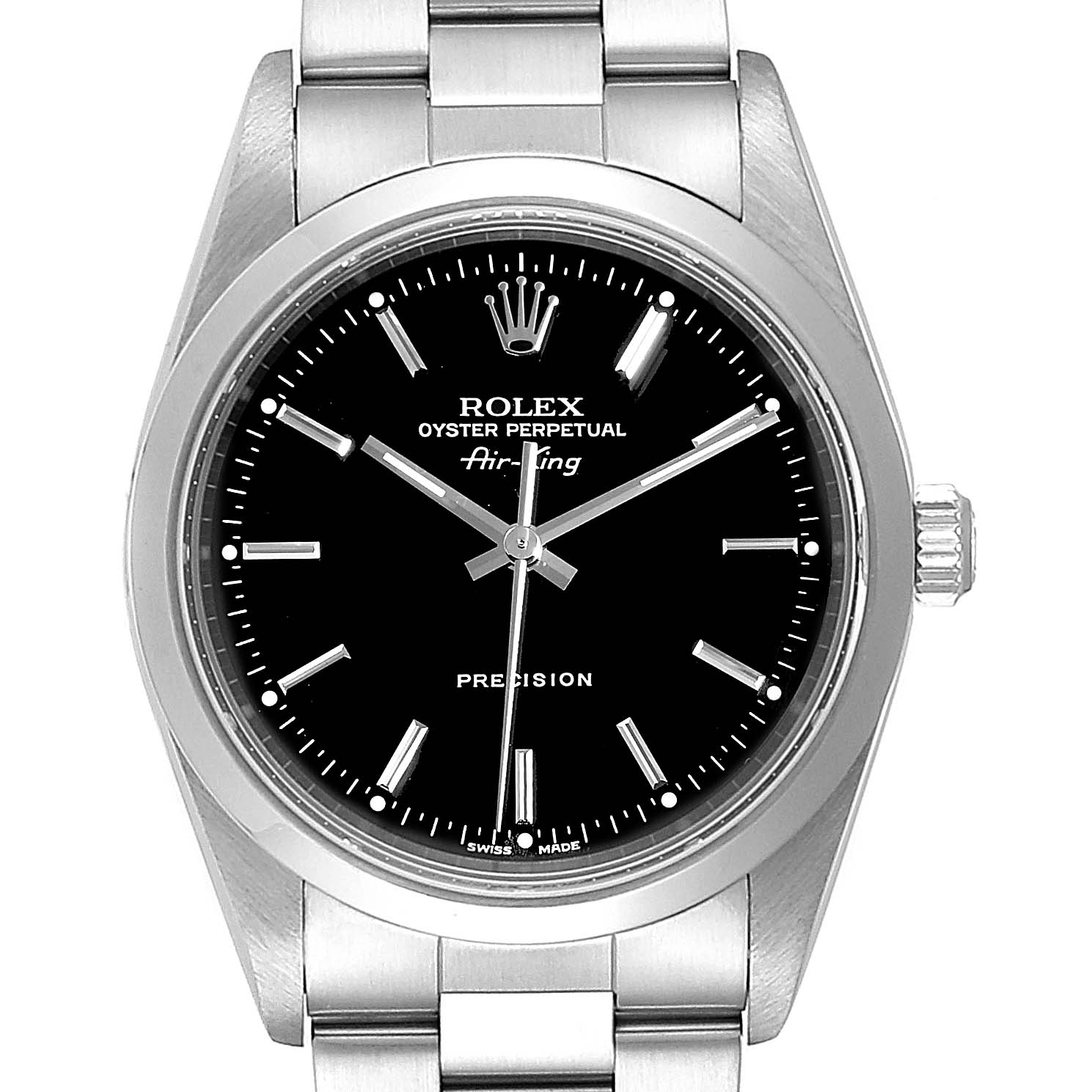 Rolex Air King 34 Black Dial Automatic Steel Mens Watch 14000