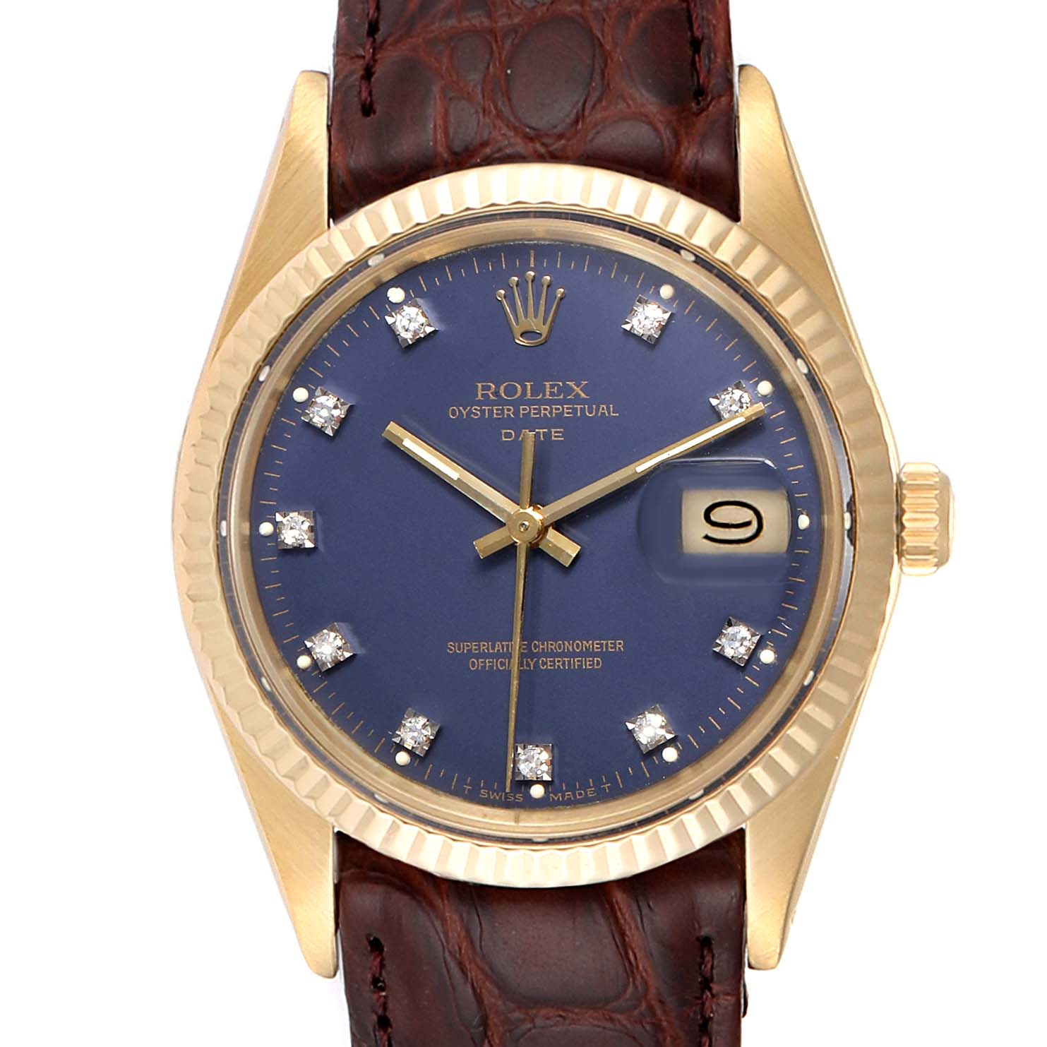Rolex Date Mens Blue Diamond Dial Yellow Gold Vintage Mens Watch 15037