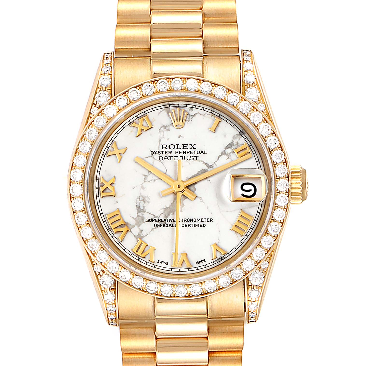 Rolex President Midsize Marble Dial Yellow Gold Diamond Ladies Watch 68158