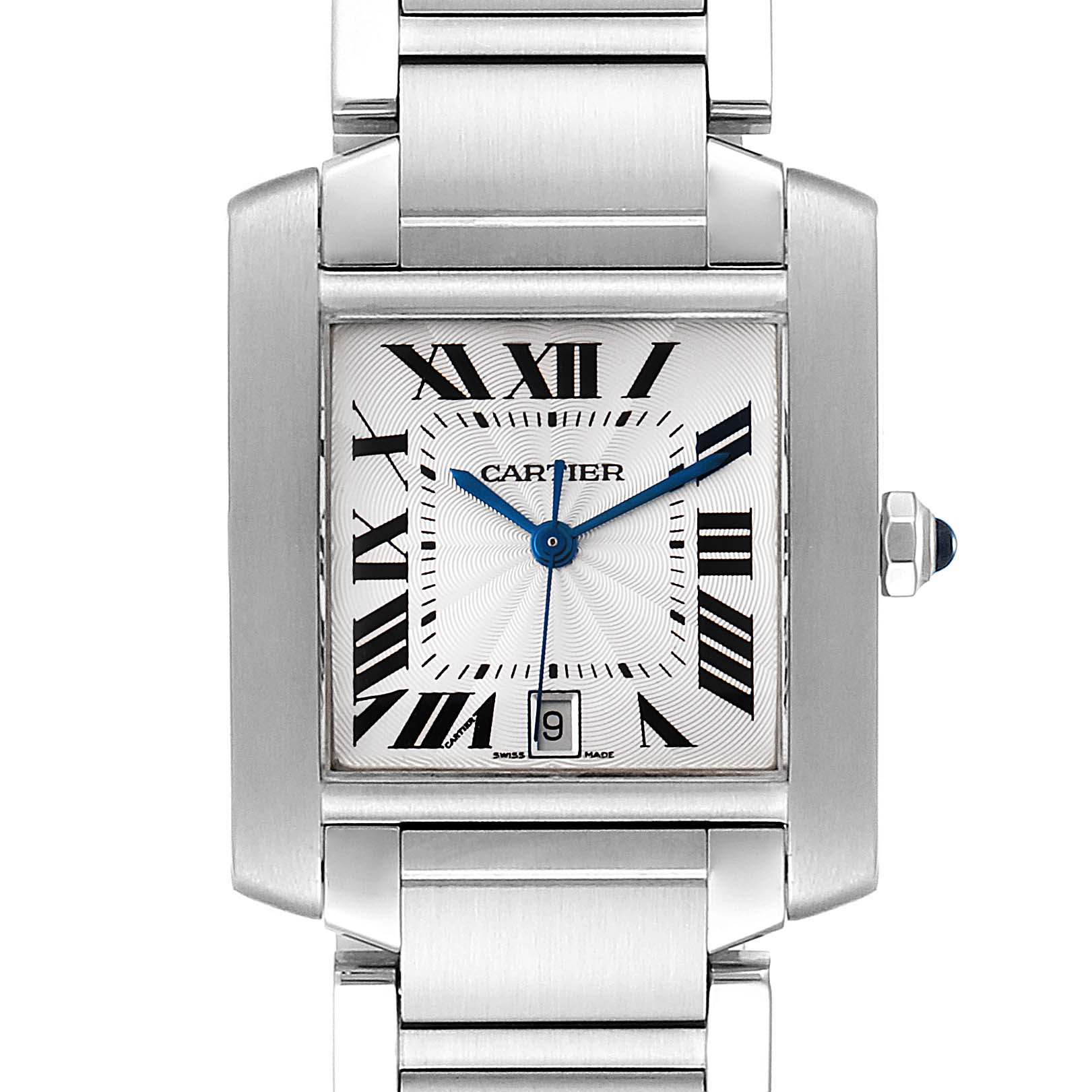 Cartier Tank Francaise Blue Hands Steel Automatic Mens Watch W51002Q3 SwissWatchExpo