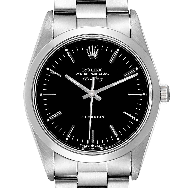 Rolex Air King 34 Black Dial Domed Bezel Steel Mens Watch 14000