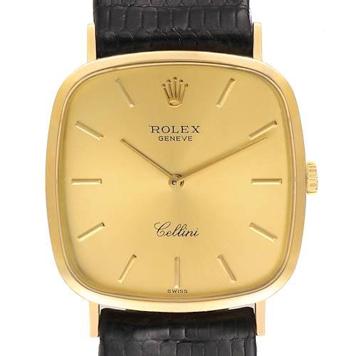 Photo of Rolex Cellini 18k Yellow Gold Black Strap Mens Vintage Watch 4114
