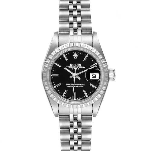 Photo of Rolex Date Black Dial Jubilee Bracelet Steel Ladies Watch 69240
