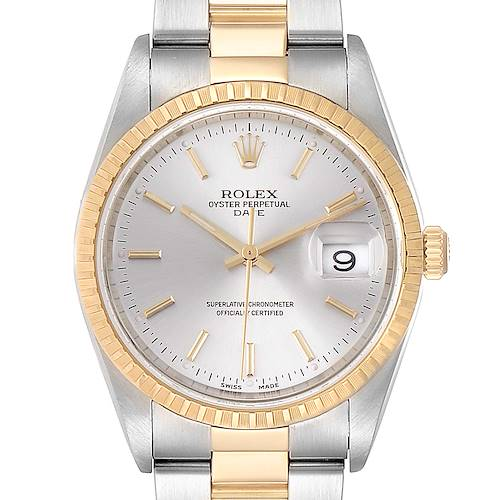 Photo of Rolex Date Mens Steel Yellow Gold Silver Dial Mens Watch 15223 Box Papers