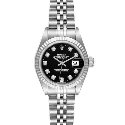 Photo of Rolex Datejust Steel White Gold Black Diamond Dial Ladies Watch 79174 Box
