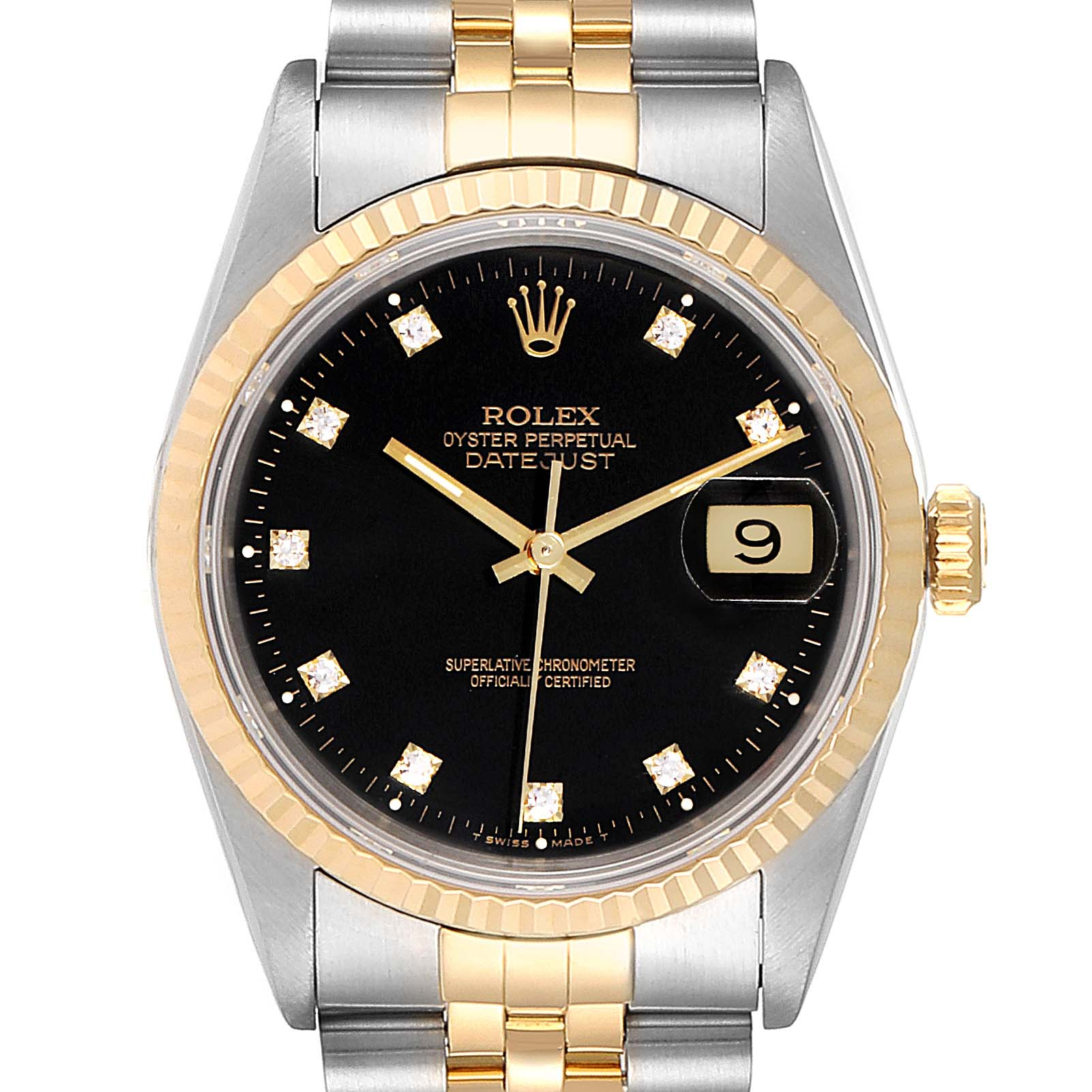 Rolex Datejust Steel Yellow Gold Black Diamond Dial Mens Watch 16233