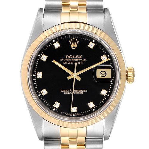 Photo of Rolex Datejust Steel Yellow Gold Black Diamond Dial Mens Watch 16233