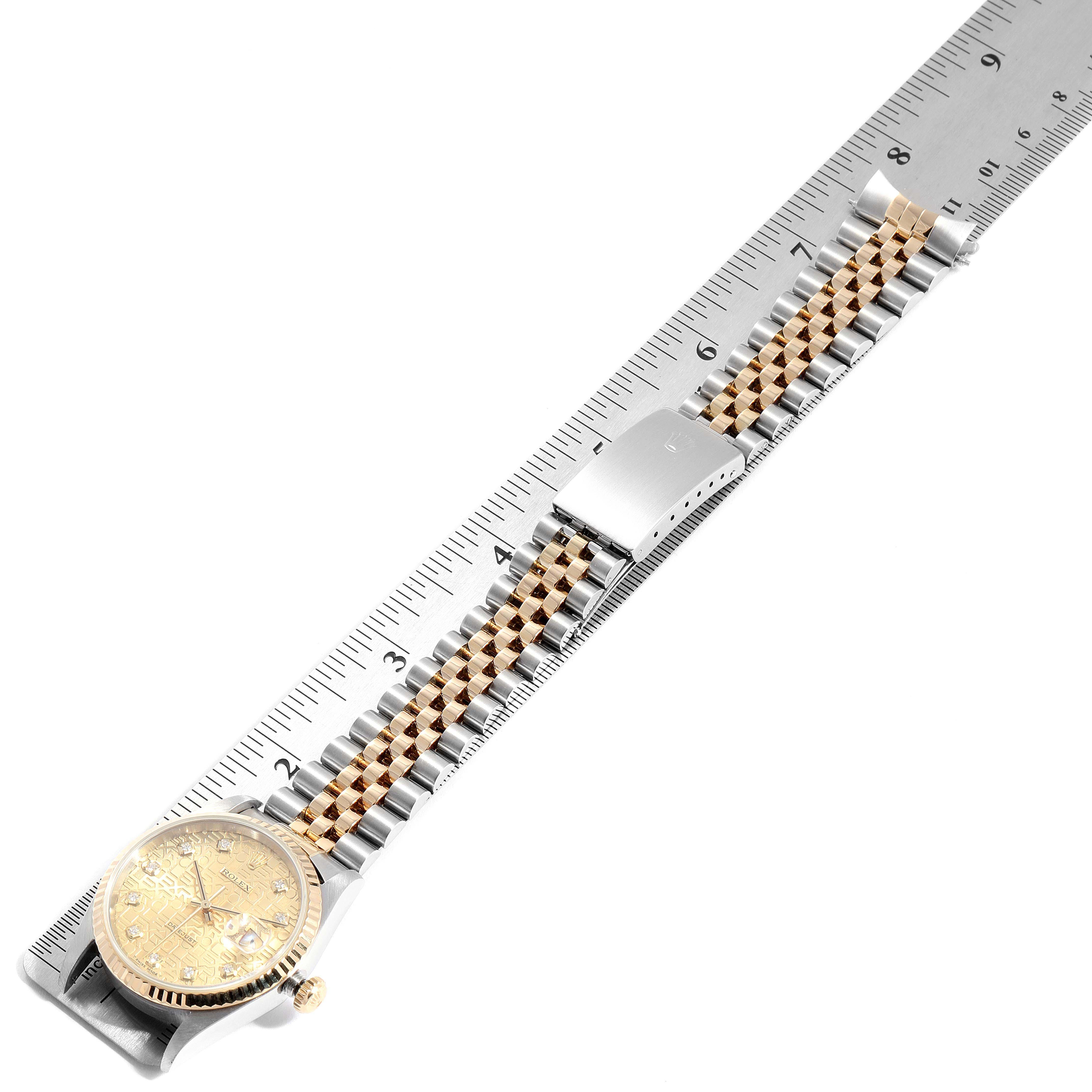 Rolex Datejust Steel Yellow Gold Diamond Mens Watch 16233 Box SwissWatchExpo