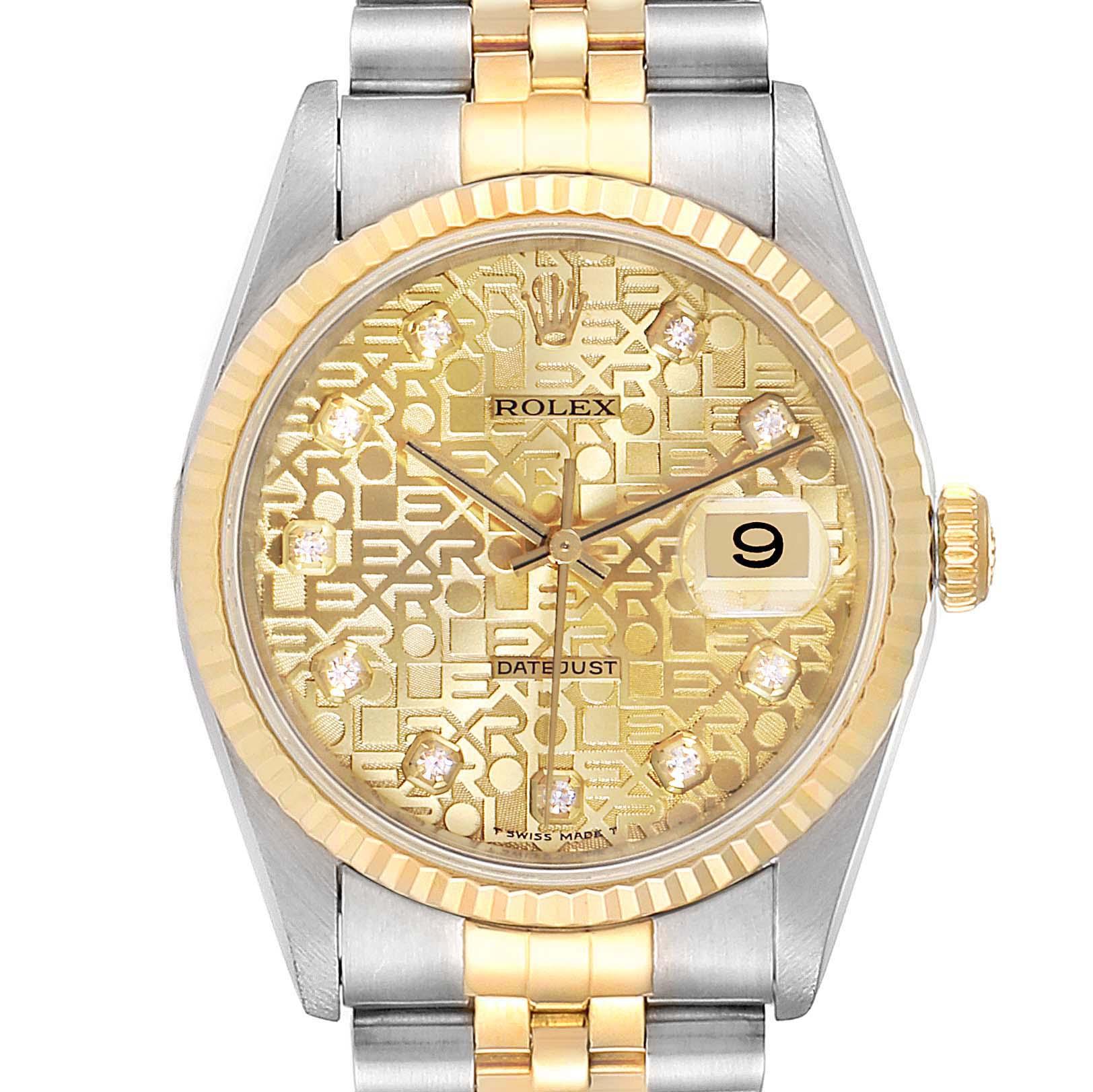 Rolex Datejust Steel Yellow Gold Diamond Mens Watch 16233 Box