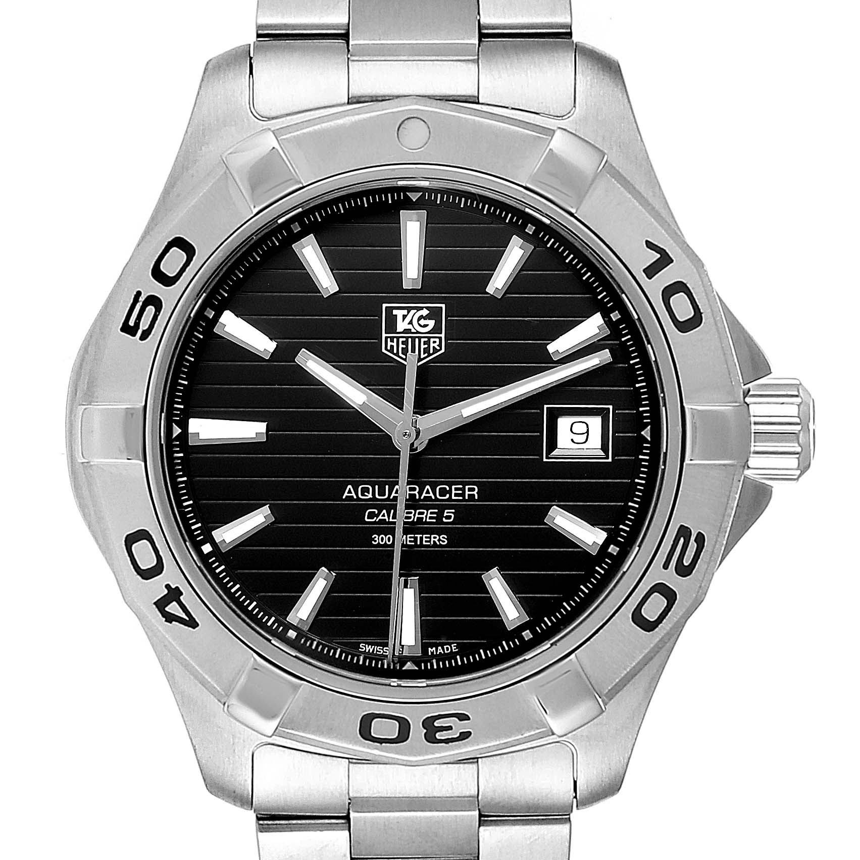 Photo of Tag Heuer Aquaracer Black Dial Automatic Steel Mens Watch WAY2110 Box