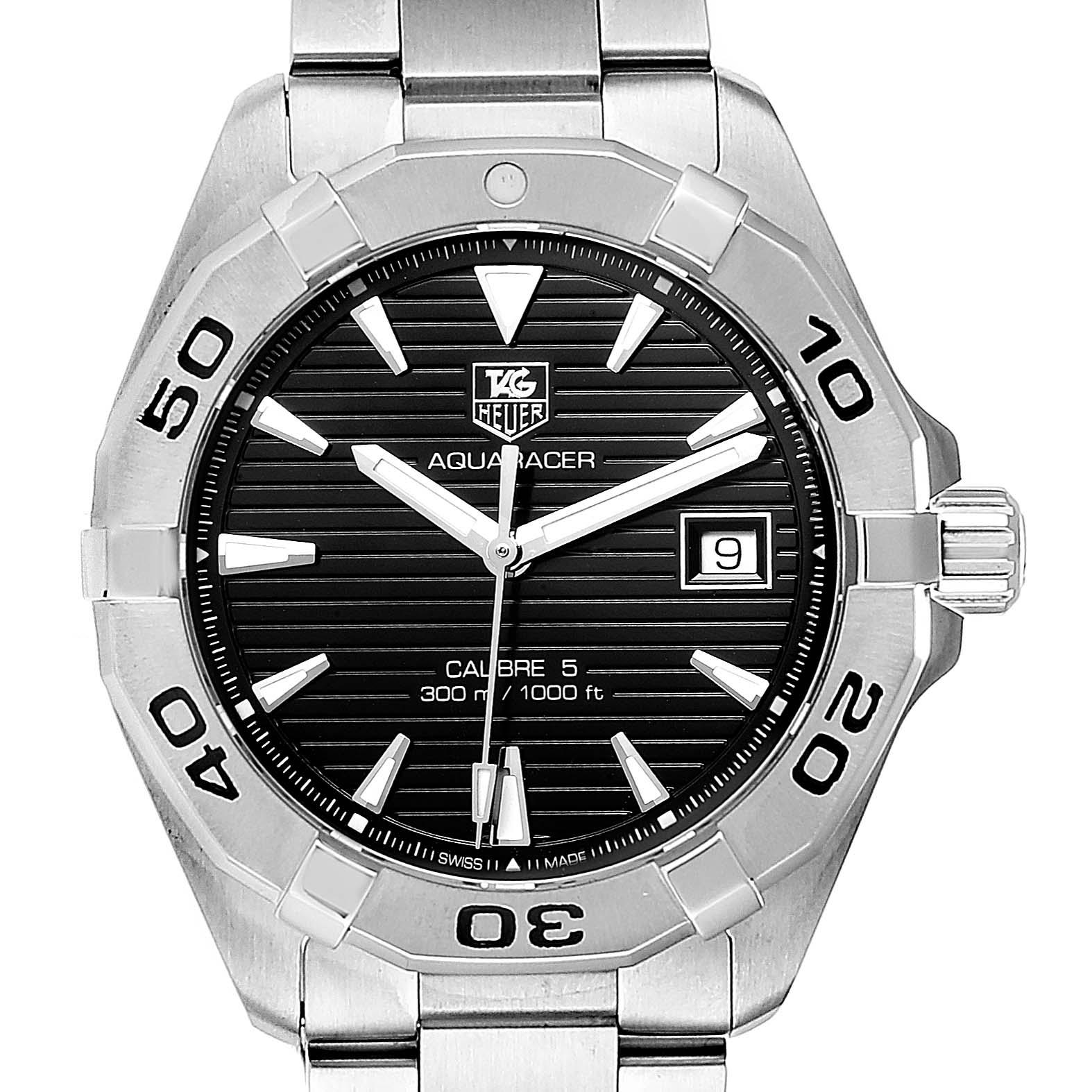 Tag Heuer Aquaracer Black Dial Steel Mens Watch WAY2110 Box Card