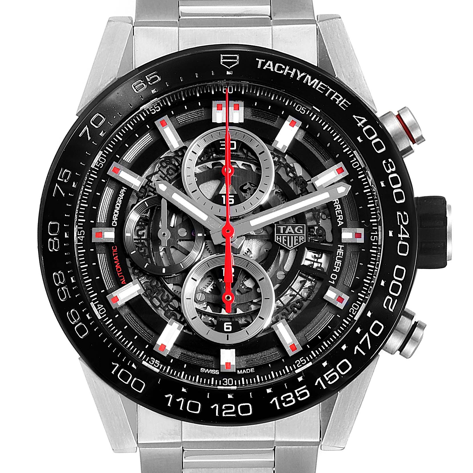 Tag Heuer Carrera Skeleton Dial Chronograph Mens Watch CAR2A1W Box Card