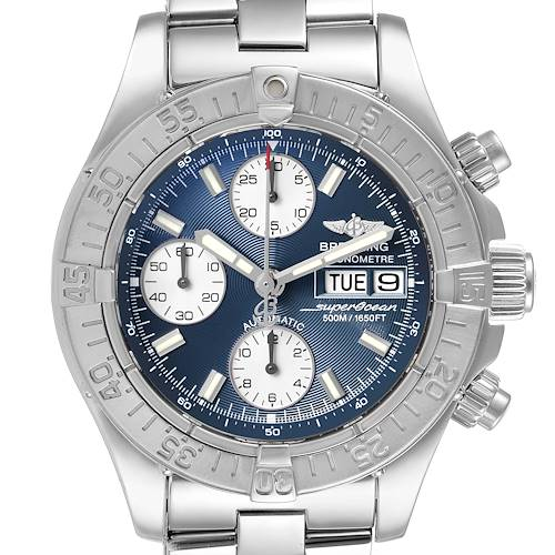 Photo of Breitling Aeromarine Superocean Blue Dial Steel Mens Watch A13340 Box Papers