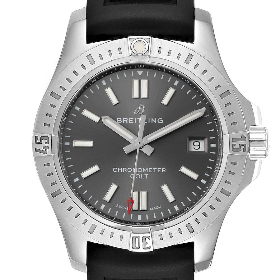 Breitling Colt Grey Dial Automatic Steel Mens Watch A17313 Box Papers SwissWatchExpo