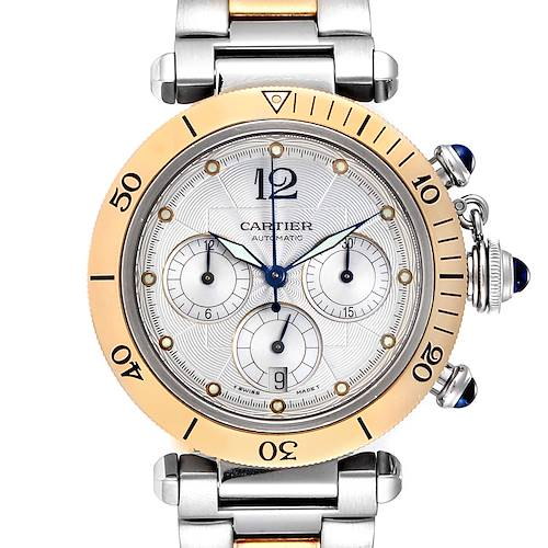 Photo of Cartier Pasha 38mm Chronograph Steel Yellow Gold Mens Watch W31036T6