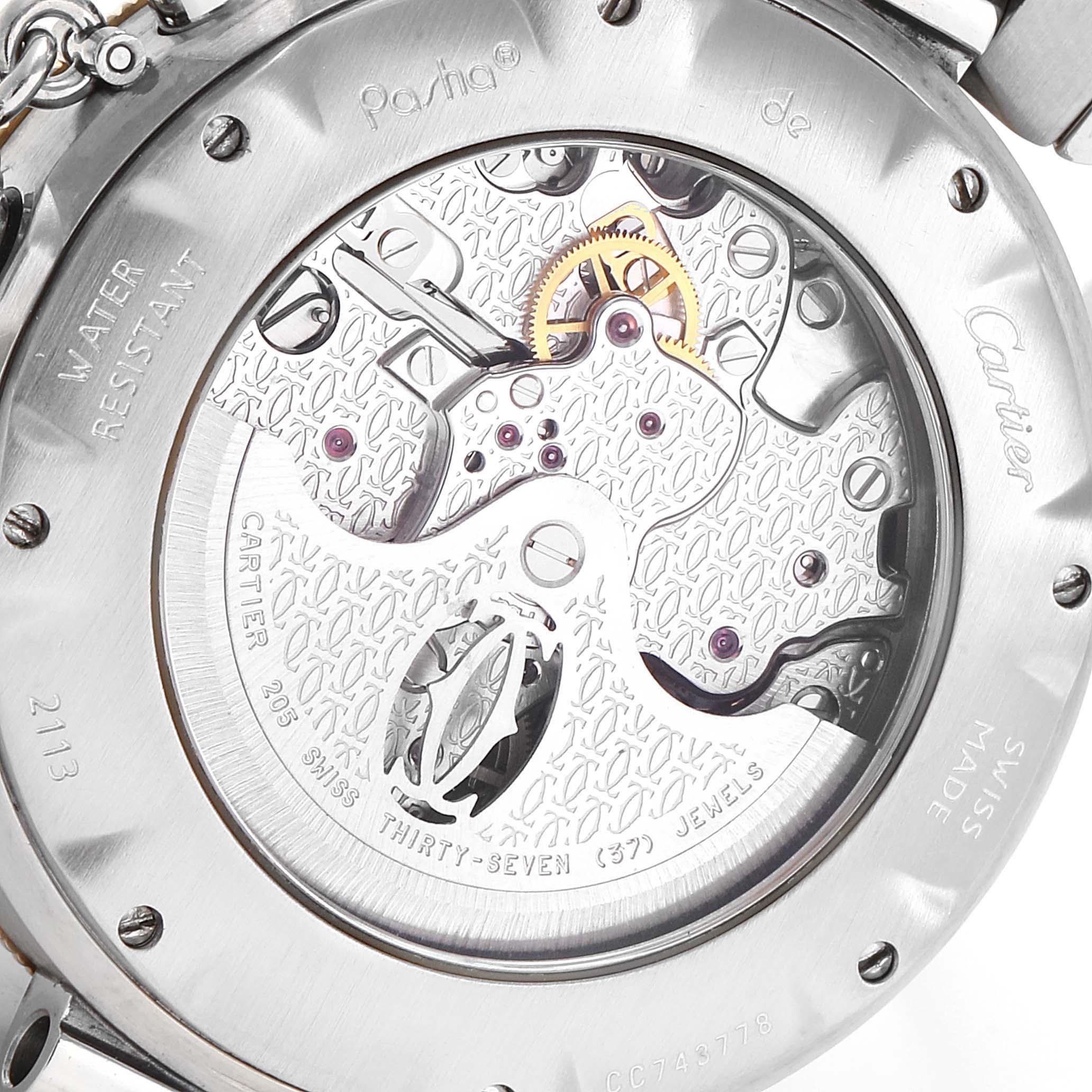 Cartier Pasha 38mm Chronograph Steel Yellow Gold Mens Watch W31036T6 SwissWatchExpo