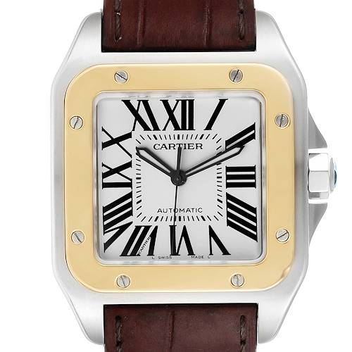 Photo of Cartier Santos 100 Steel Yellow Gold 38mm Mens Watch W20072X7