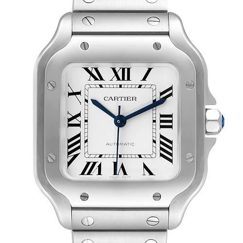 Photo of Cartier Santos Silver Dial Medium Steel Mens Watch WSSA0029 Unworn