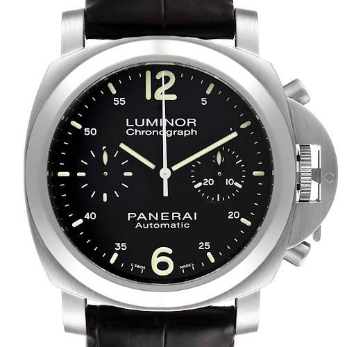 Photo of Panerai Luminor Chronograph Black Dial Steel Mens Watch PAM00310