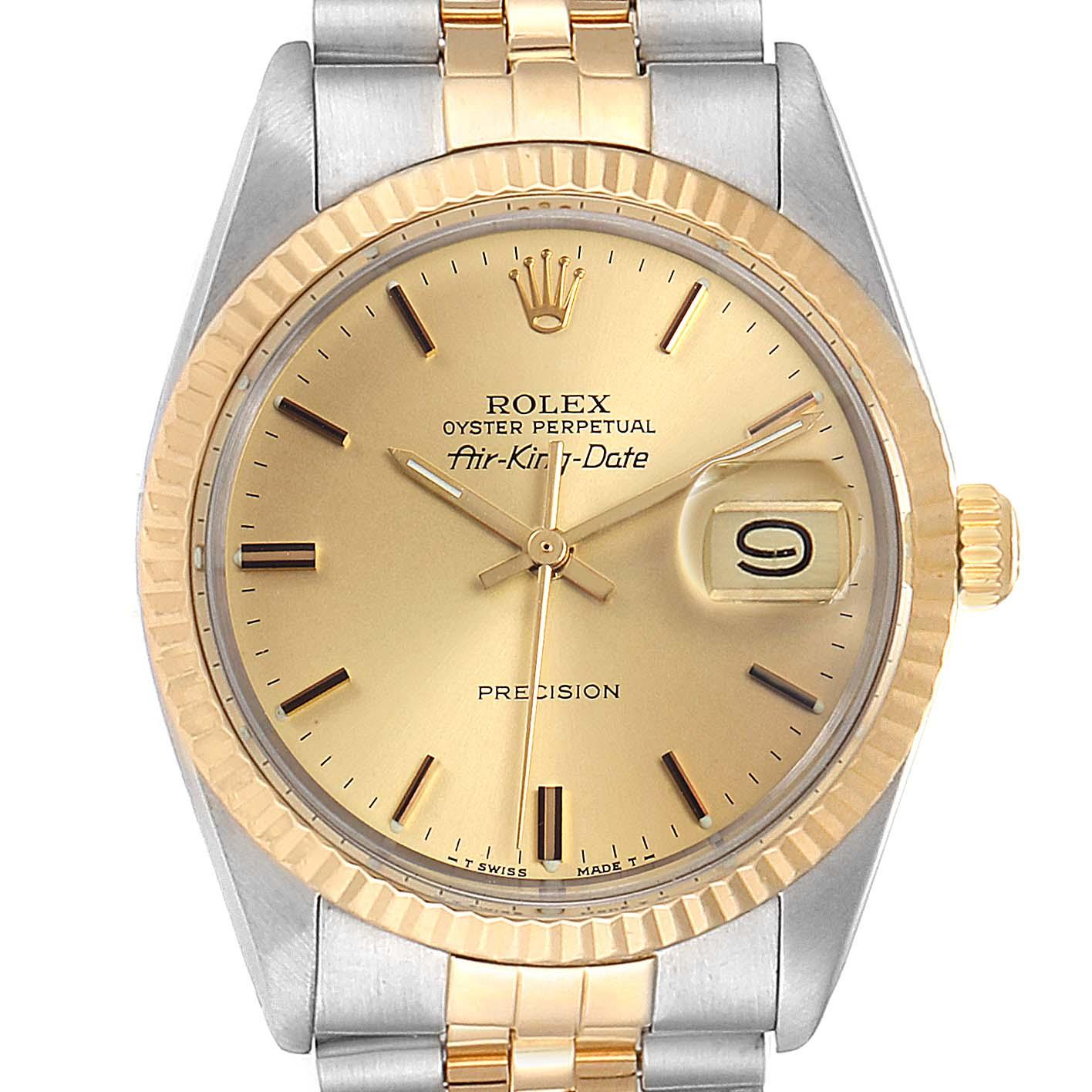 Rolex Air King Vintage Steel Yellow Gold Mens Watch 5701 SwissWatchExpo