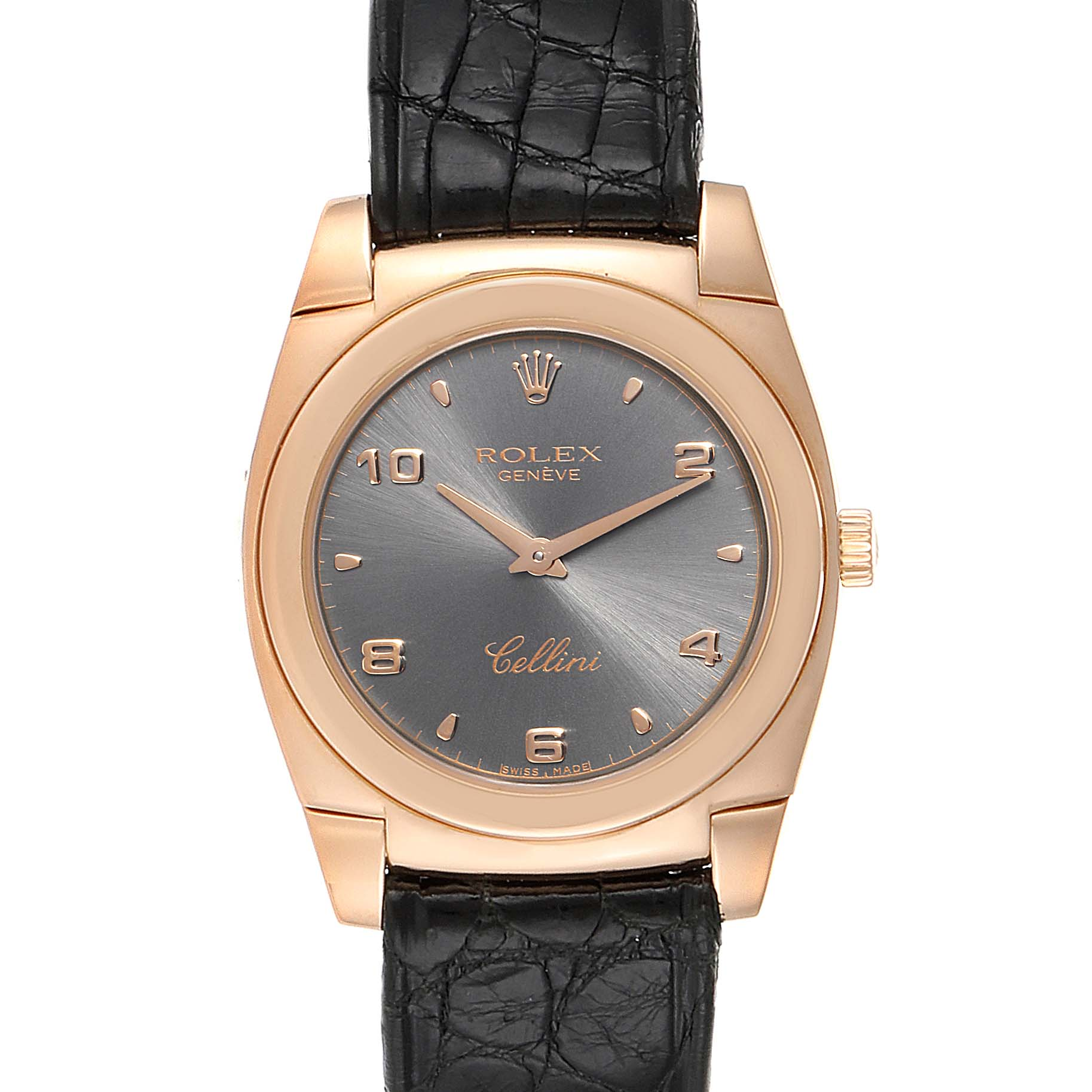 Rolex Cellini Cestello Rose Gold Slate Dial Ladies Watch 5320 Box Papers