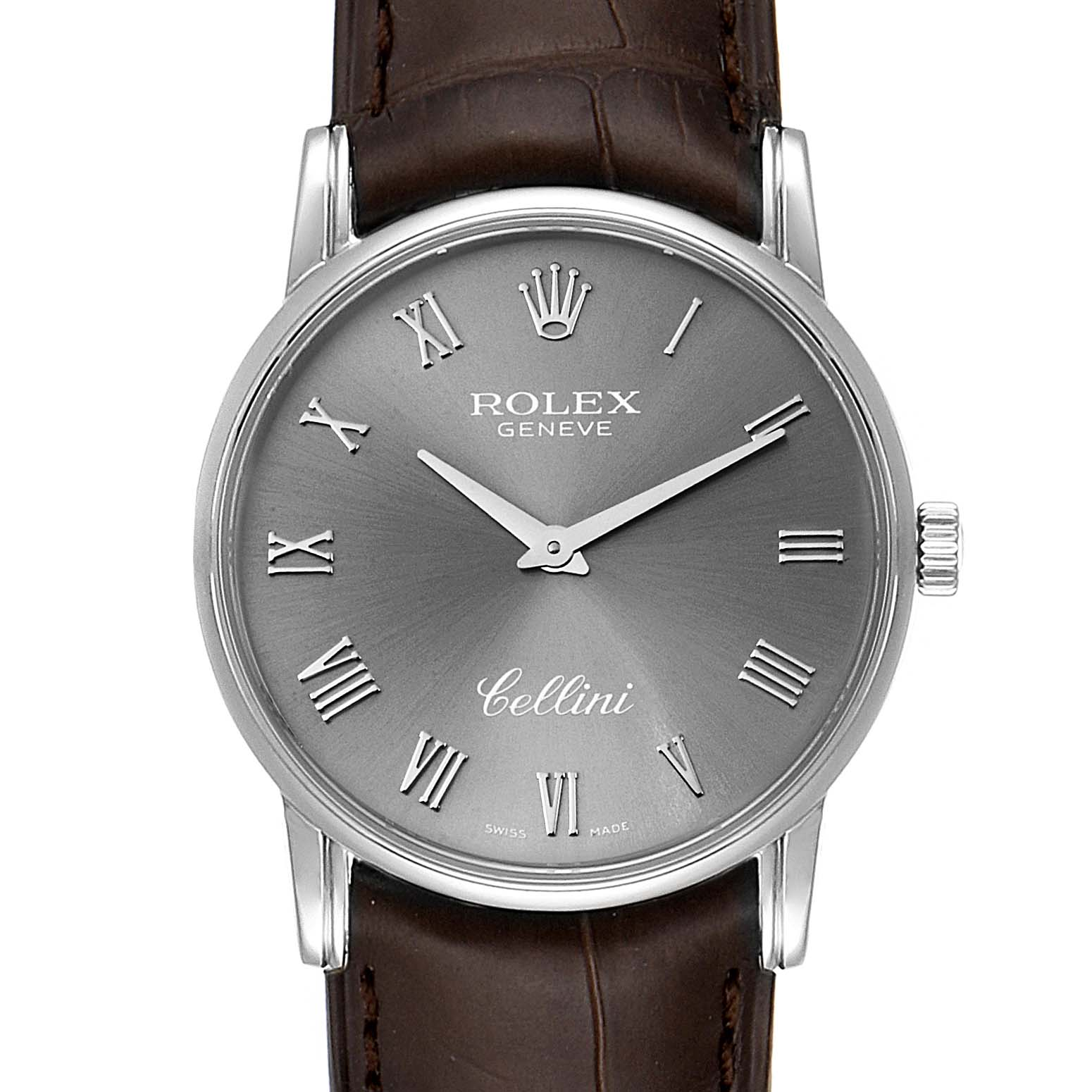 Photo of Rolex Cellini Classic Slate Dial 18k White Gold Mens Watch 5116