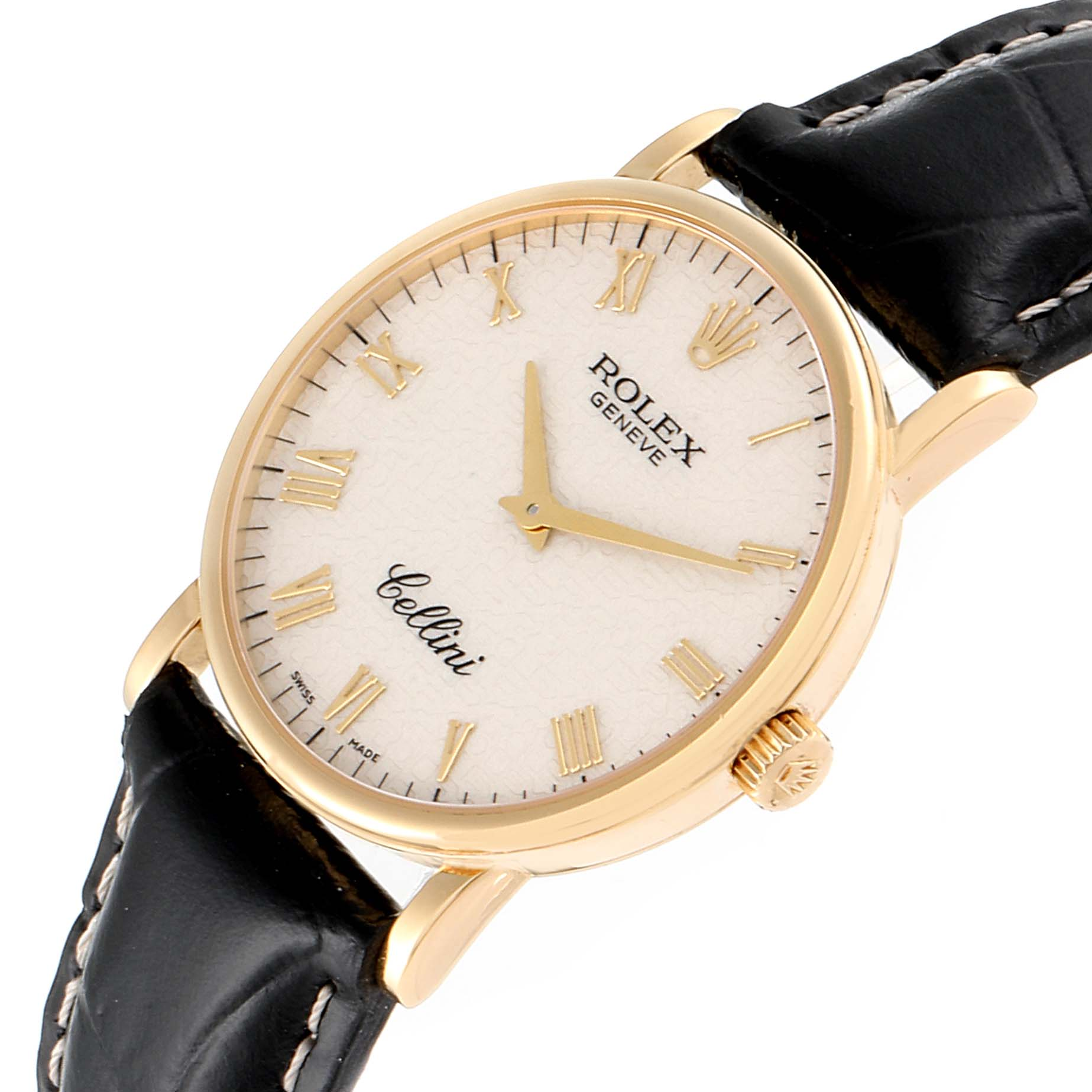 Rolex Cellini Classic Yellow Gold Anniversary Dial Mens Watch 5115 SwissWatchExpo