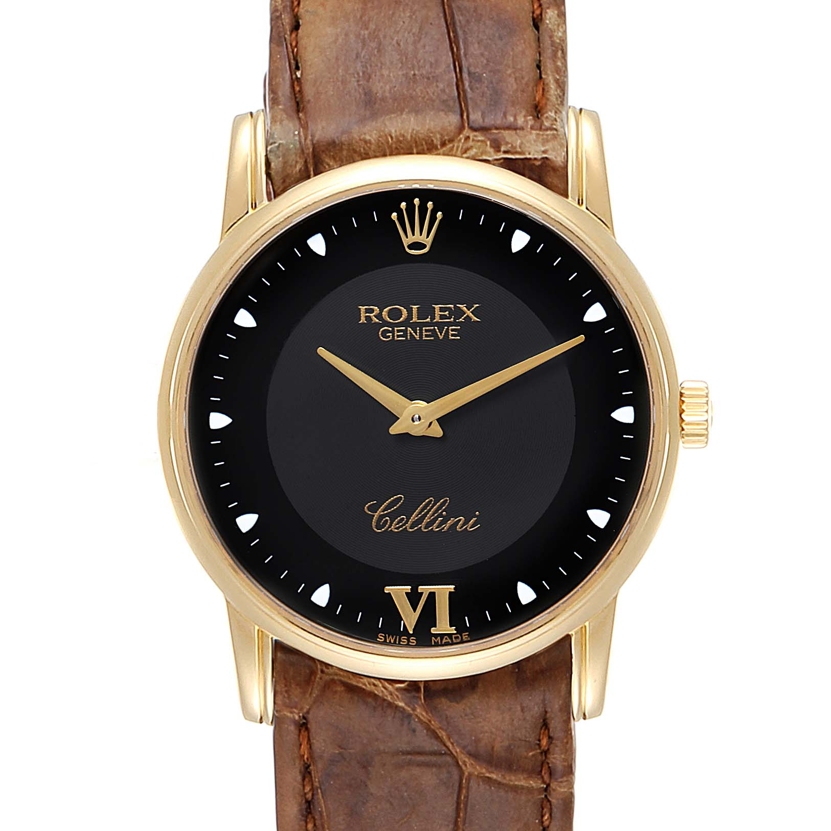 Photo of Rolex Cellini Classic Yellow Gold Black Dial Watch 5116 Box Papers
