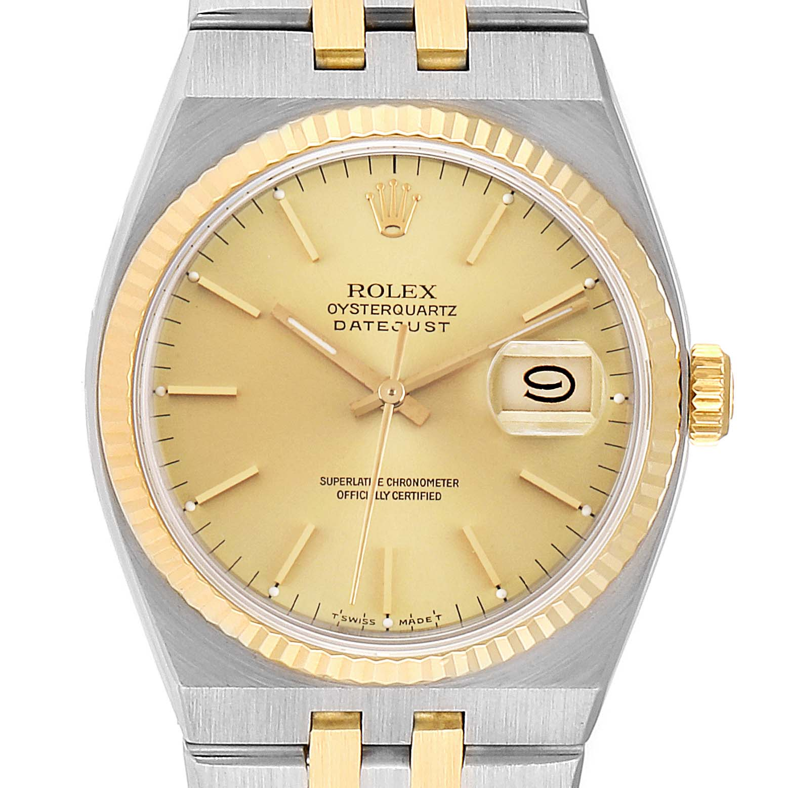 Rolex Oysterquartz Datejust Steel Yellow Gold Mens Watch 17013 Box Papers