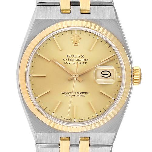 Photo of Rolex Oysterquartz Datejust Steel Yellow Gold Mens Watch 17013 Box Papers