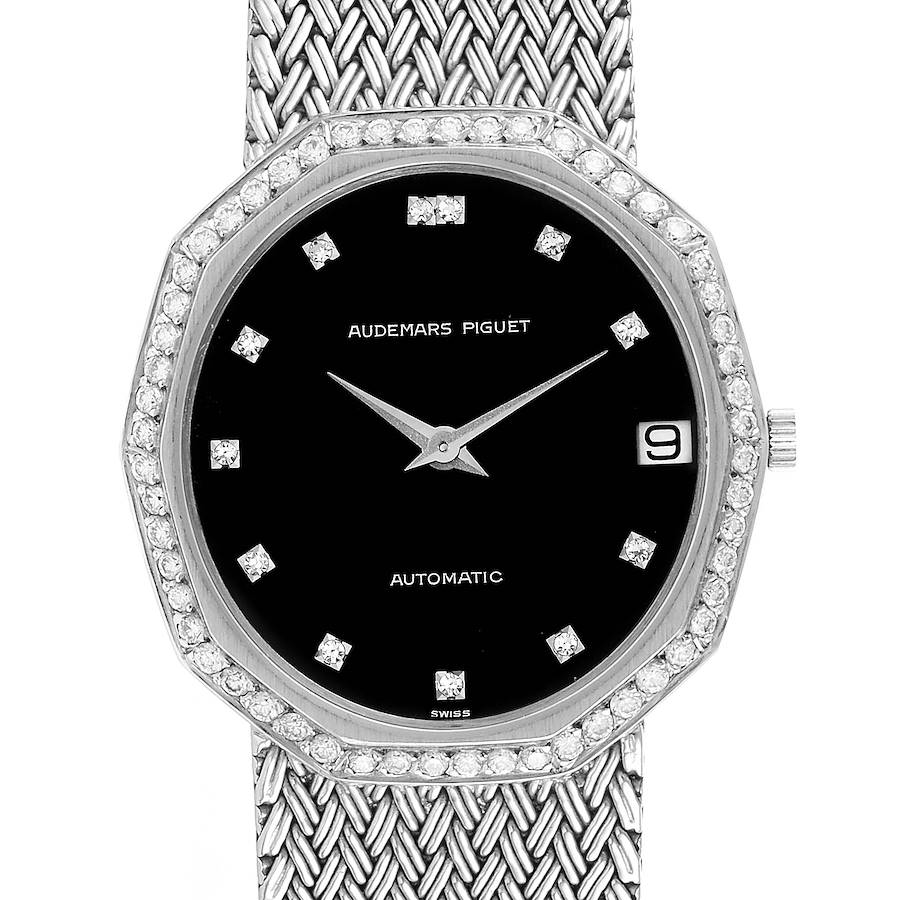 Audemars Piguet White Gold Black Dial Diamond Vintage Mens Watch SwissWatchExpo